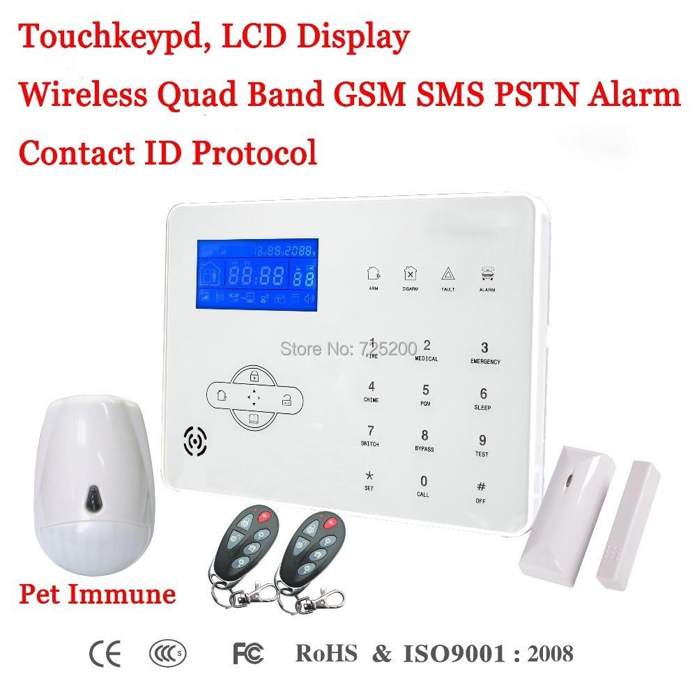 French/Spanish/English Voice Prompt Wireless GSM SMS PSTN Intrusion Alarm System ST IIIB with Pet Immune PIR Sensor & Door Senso
