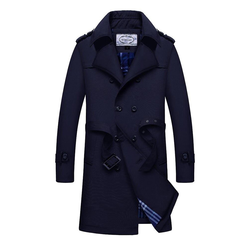 TAIZIQI Longue tranchée manteau hommes épaissir outwear hommes longs manteaux coupe vent décontracté veste manteau chaud pour hommes - 3