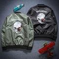 2016 Spring and Autumn New Men's Skull Printed Flight Jacket Collar Leisure Coat Leisurewear