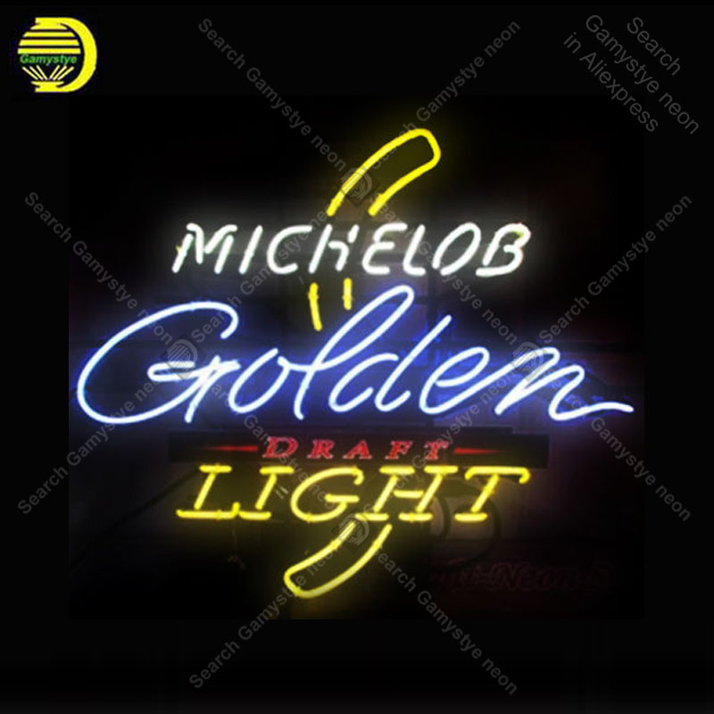 Michelob Golden Light NEON Signs Lamp Real GLASS Tube Affiche Decor Shop Window Handcraft Publicidad anuncio luminoso Dropship|Neon Bulbs & Tubes| |  - title=