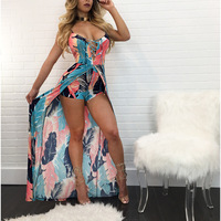 Summer print floral beach Playsuit Sexy Rompers Womens Jumpsuit skirts lace up Bodysuits female Elastic Overalls