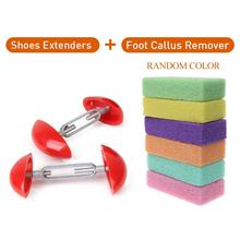 2 Pieces Shoe Stretcher Mini Width Extenders Shaper Extender Adjustable Shoe Trees + Foot Exfoliating Block for Mens Women Shoes 1 pair shoes trees expanding wide of shoes flats support device shoes trees adjustable shoe stretchers for women zh541