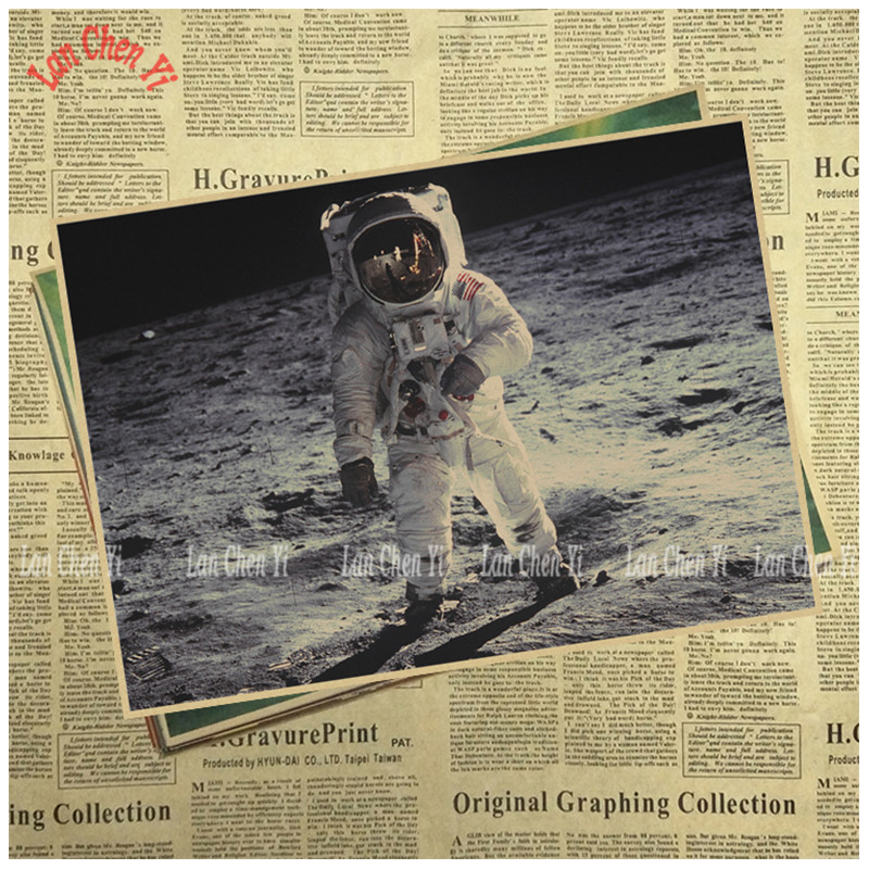 Vintage Classic Kraft Paper Poster Lunar exploration Office Gift Room Dining Home Decor  ...