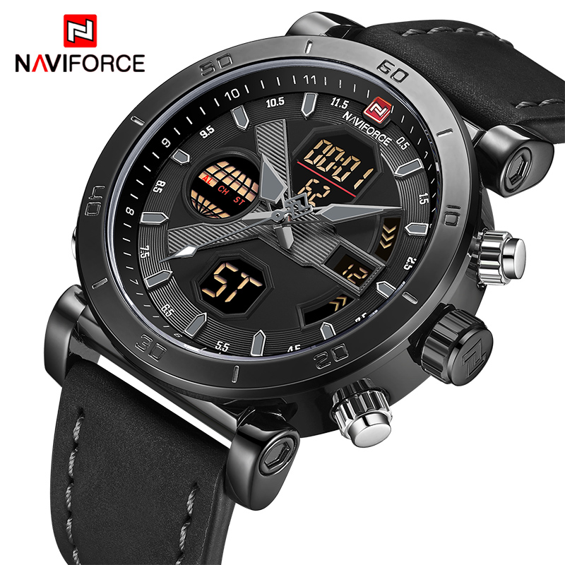 NAVIFORCE TOP Luxury Brand Sport Watches Men Leather Waterproof Army Military Digital Quartz Analog Wrist Watch Man Clock