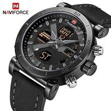 NAVIFORCE Топ Элитный бренд спортивные часы Для мужчин кожа Водонепроницаемый военный цифровой аналоговые кварцевые мужские наручные часы