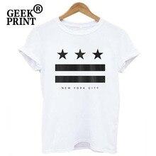 Для женщин персонализированных футболок модный принт Нью-Йорк футболки для девочек короткий рукав с круглым вырезом сексуальные рубашки прекрасная леди одежда JP14
