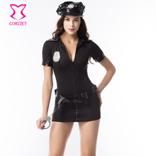 Black Plus Size Police Costume Women Halloween Carnival Games Cosplay Uniform Outfit Policewomen Dress Sexy Costumes For Adults