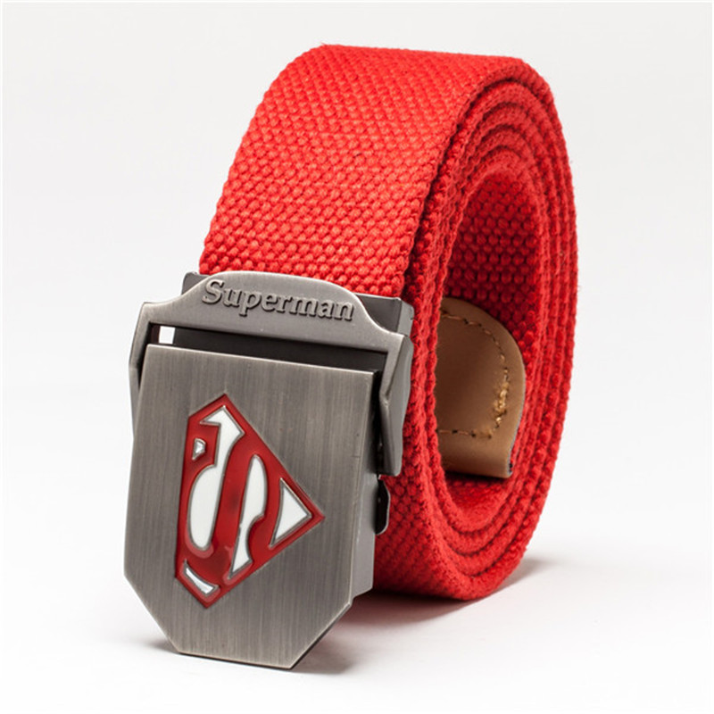 Superman Tactical   Belt   Canvas Mens New Wide Thicken Military   Belts   Automatic Buckle High Quality Ceinture Cinto Masculino Red