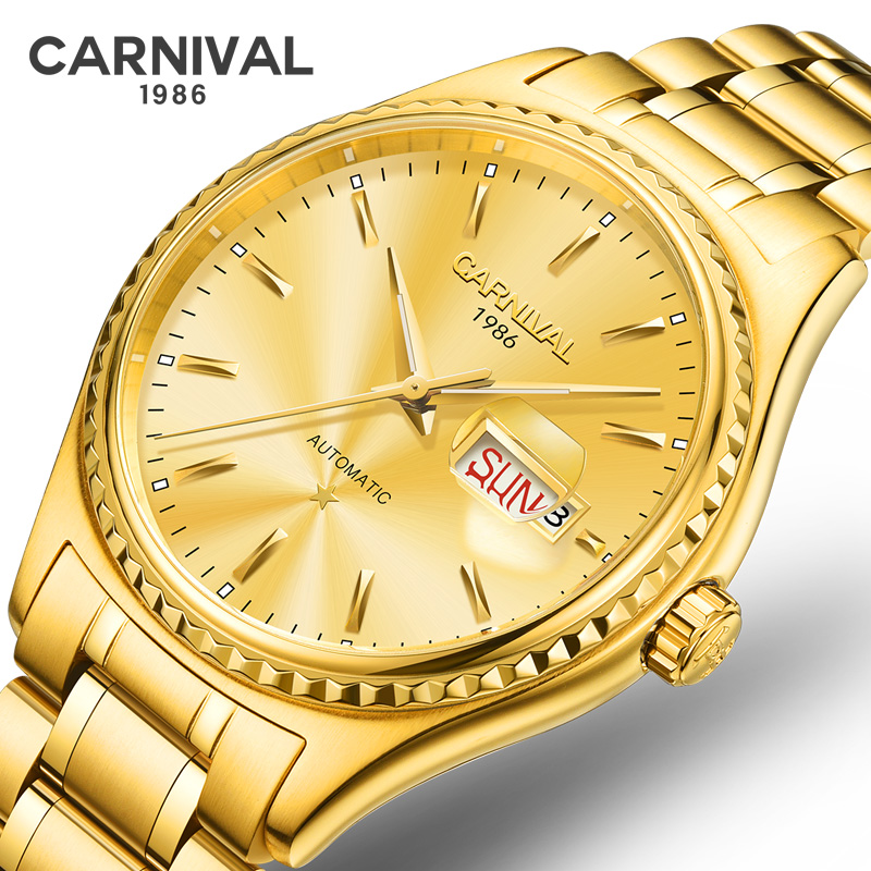 CARNIVAL Golden Steel Men Automatic Mechanical Watch Luxury Top Brand Watch Synthetic Sapphire Men Watch Waterproof relogio in Mechanical Watches from Watches