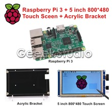 Promo offer Raspberry Pi 3 Model B with WiFi & Bluetooth + 5 inch 800*480 HDMI LCD Touch Screen Display + Acrylic Bracket Housing Holder
