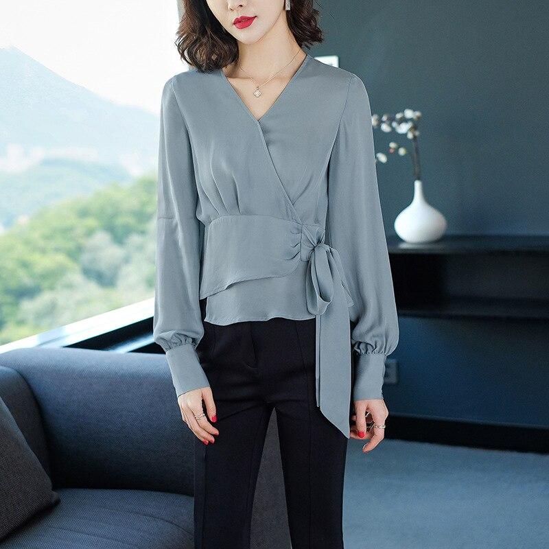 100% шелк сплошной v образным вырезом Фонарь без рукавов Пуловеры Блузка 2019 новые женские весенние летние короткие тонкие рубашки