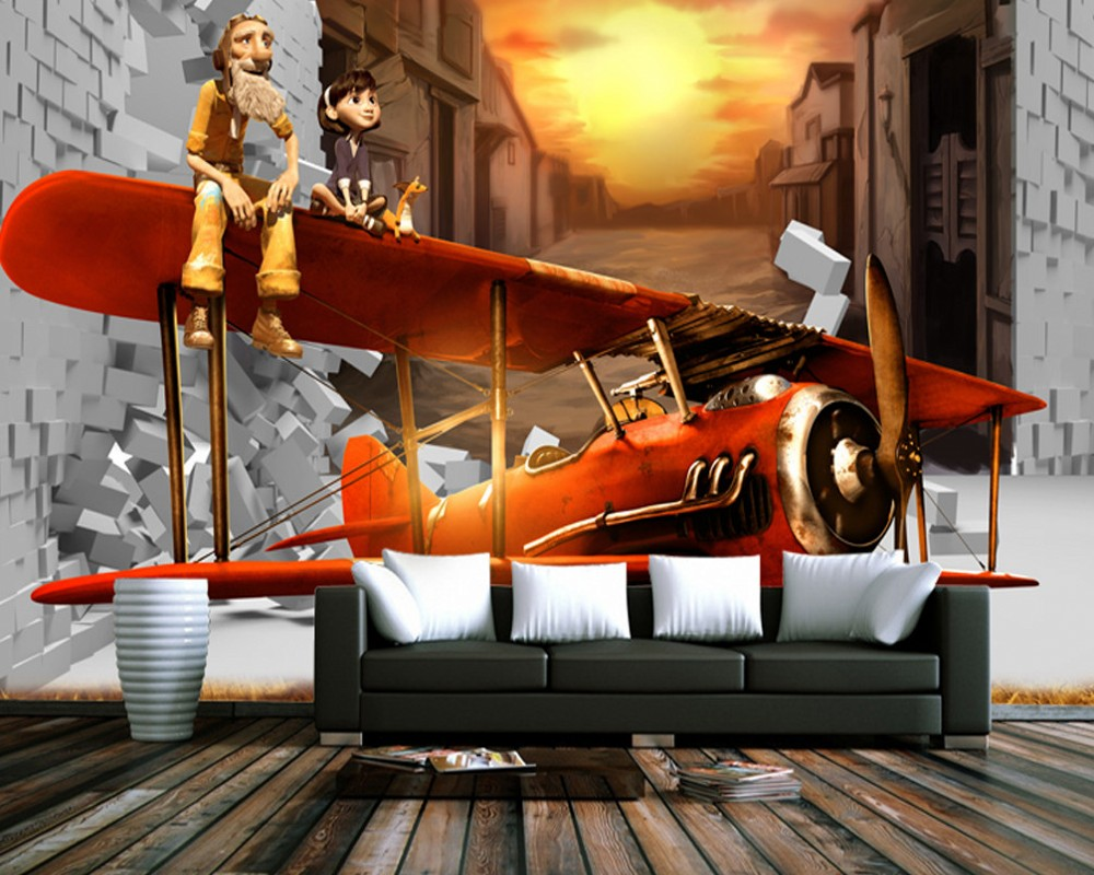 Free Shipping Cartoon Animation TV Background Wall Painting Decorative Little Prince Mural Children'S Bedroom 3d Wallpaper free shipping 3d wall painting sofa wallpaper living room tv background wallpaper grassland wallpaper mural