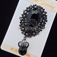3,2 дюймов огромный Винтаж Мода черный цвет брошь Высокое качество гарантия! Лидер продаж, женский ювелирный корсаж для банкета