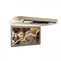 Xtrons 13.3 Cream Color Flip Down Car DVD Car Roof DVD Roof Mount Car DVD with Built in HDMI Input & 2 IR/FM Headphones