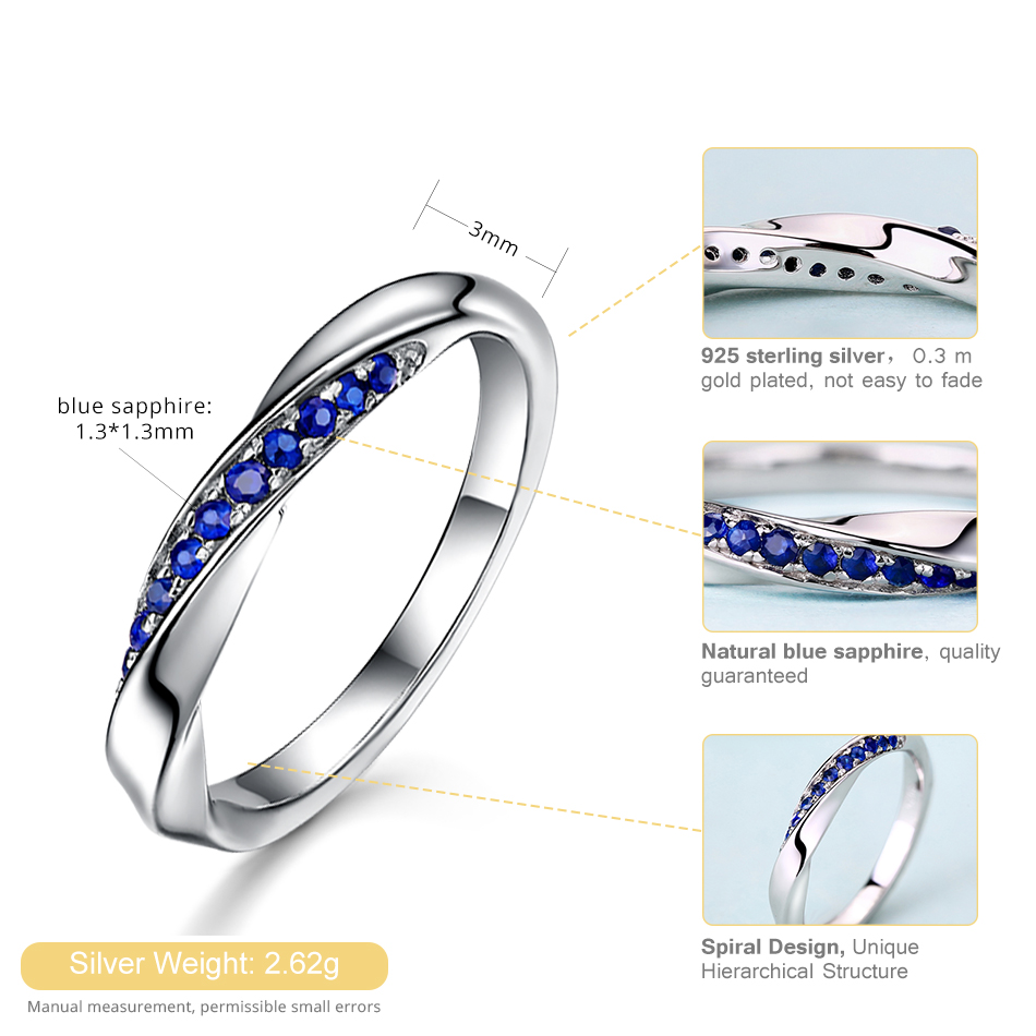 ALLNOEL Genuine 925 Sterling Silver Ring For Women 1.3mm Blue Sapphire Ring Luxury Wedding Engagement Jewelry Rose Gold 3 Colors (8)