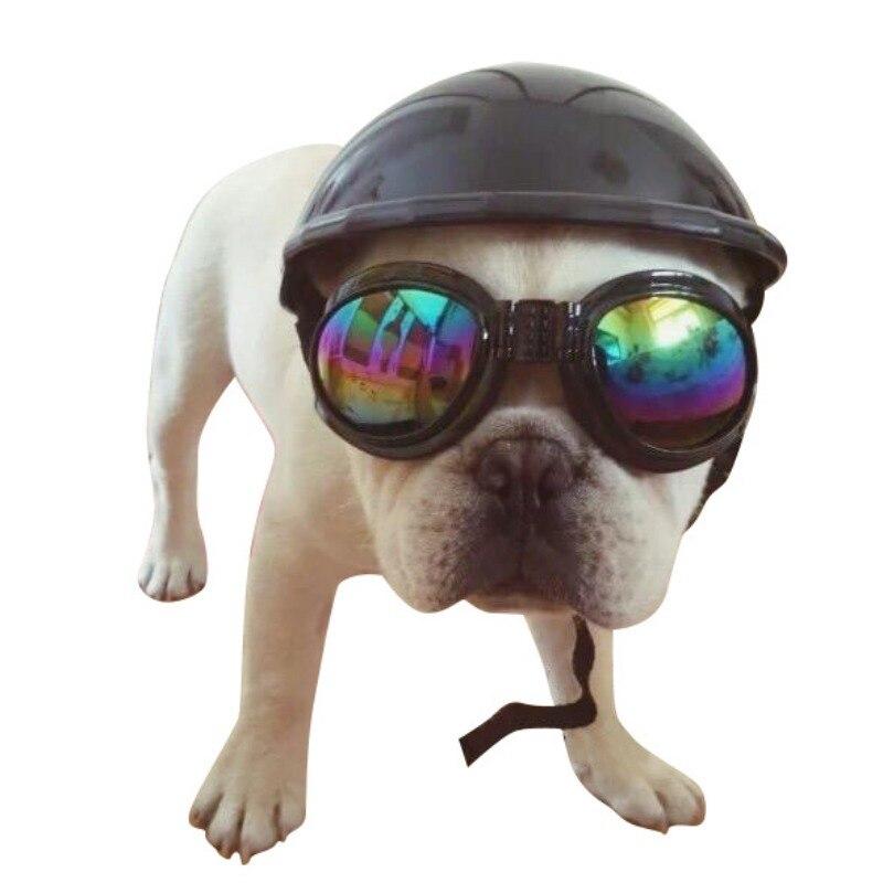 Pet cat dog Helmet Hat Cap Dog Cat Costume Accessory Pet Supplies motorcycle ABS Plastic dog toy Helmet cap with sunglasses meanit m5