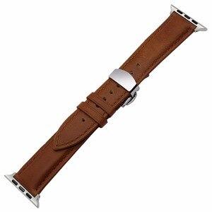 Image 2 - IWatch Apple 시계 용 이탈리아 정품 가죽 손목 시계 5 4 3 2 38mm 40mm 42mm 44mm 스틸 버터 플라이 버클 밴드 손목 스트랩 벨트