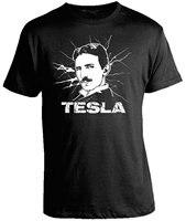 Science Shirts Nikola Tesla T Shirt 100 Cotton Print Mens Summer O Neck Cool Slim Fit