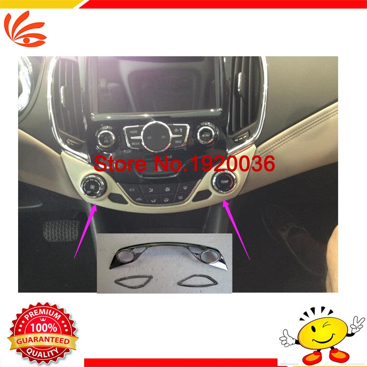 Car styling Chrome Air Conditioning Vent Outlet Cover Central control sticker Center control panel cover for CRUZE 2015