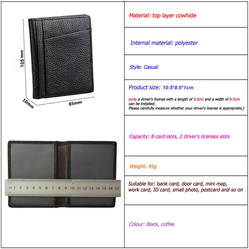Fashion Genuine Cow Leather on Cover for Car Driving Documents Card Credit Holder Thin Auto Driver License Bag Wallet Badge Case