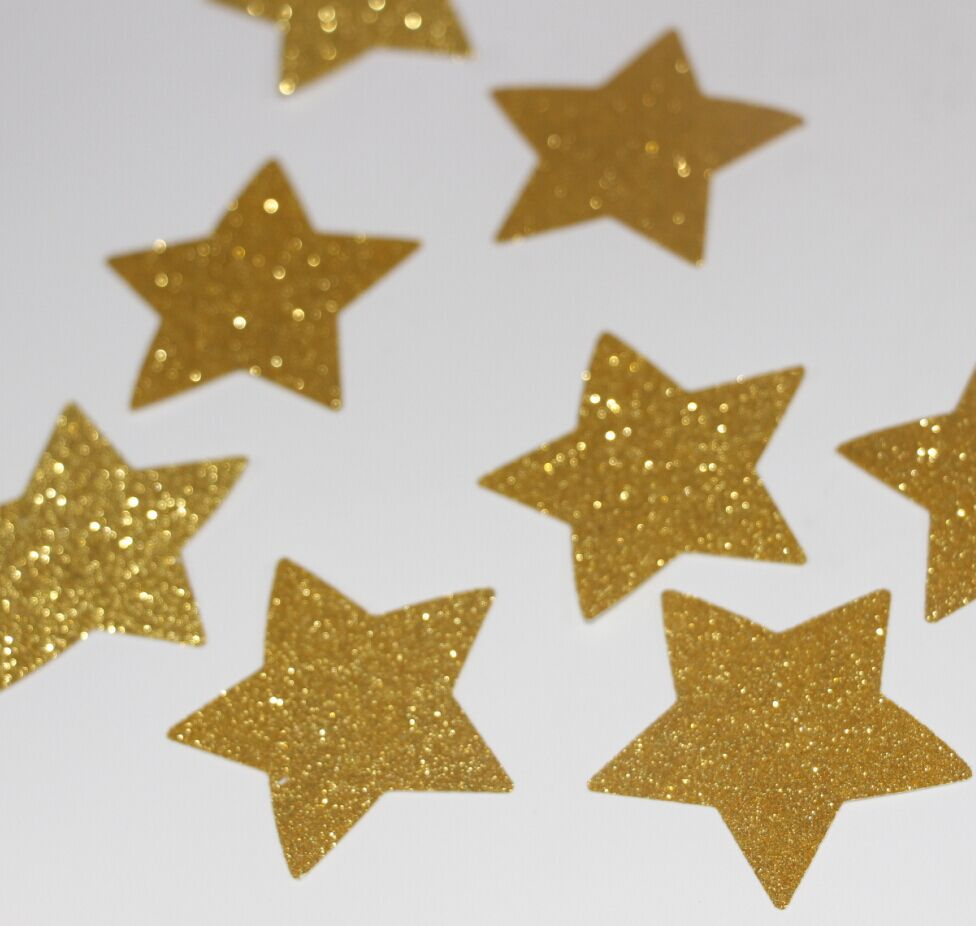 100pcs 2 inch new years decorations paper confetti gold glitter star punches - Gold Decorations
