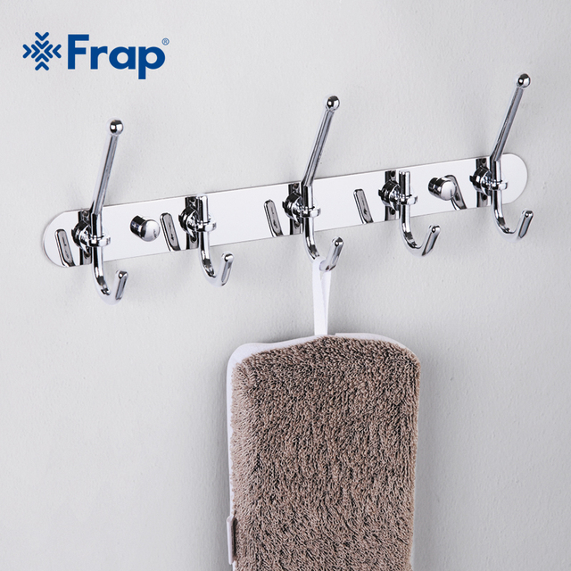 Frap High Quality Zinc Alloy Chrome-plated Clothes Hook Fixed Bathroom Towel Hanger F201-5