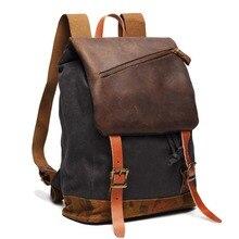 Marke vintage leinwand rucksack mode männer rucksack rucksack für student frauen des echten leders reise rucksäcke tasche