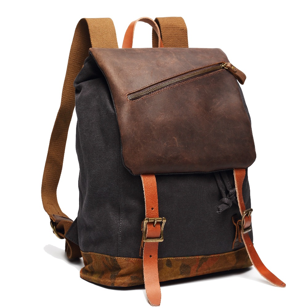 Brand vintage canvas backpack fashion men's rucksack backpack for college student genuine leather women's travel backpacks bag chic canvas leather british europe student shopping retro school book college laptop everyday travel daily middle size backpack