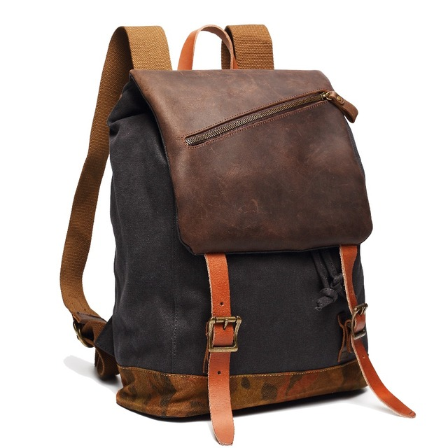9002680e919 Brand vintage canvas backpack fashion men s rucksack backpack for college  student genuine leather women s travel backpacks bag