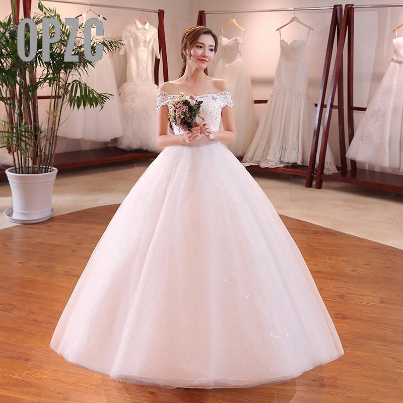 Hot Sale Summer Soft Satin Wedding Dress 2017 New Arrival Korean Style Boat Neck Simple Plus
