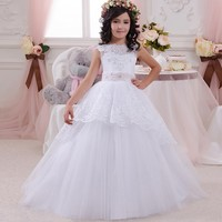 Custom Made Romantic Ball Gown Tulle Flower Girl Dress 2017 O Neck For Weddings Girl Party