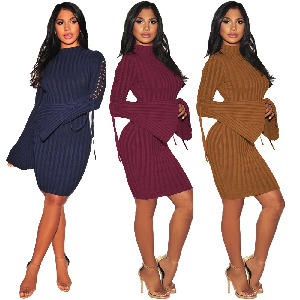 HOOYI 2018 Women Autumn Knitted Dress Sexy O-neck Sexy Tie Dresses Plus size clothing Long sleeve