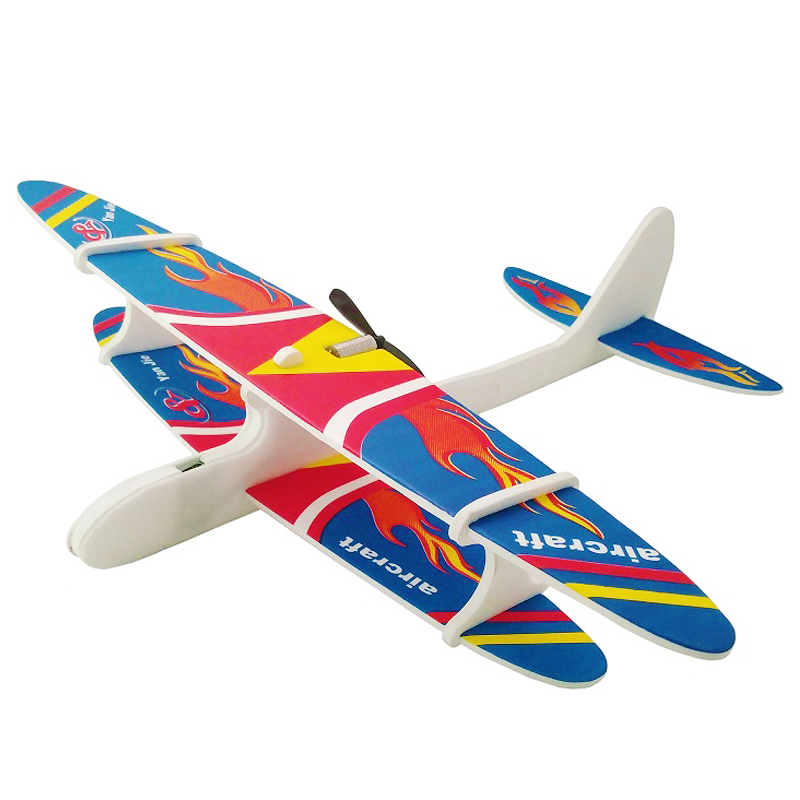2019 Foam Aircraft Capacitor Electric Glider <font><b>Model</b></font> Plane Hand Launch Throwing Aircraft Kid Baby Outdoor Games Fun Toys 28*30CM image