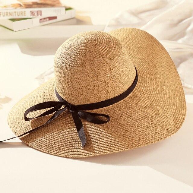 Estate cappello di paglia femminile grande protezione della spiaggia di  sole,ombreggiatura cappello di estate