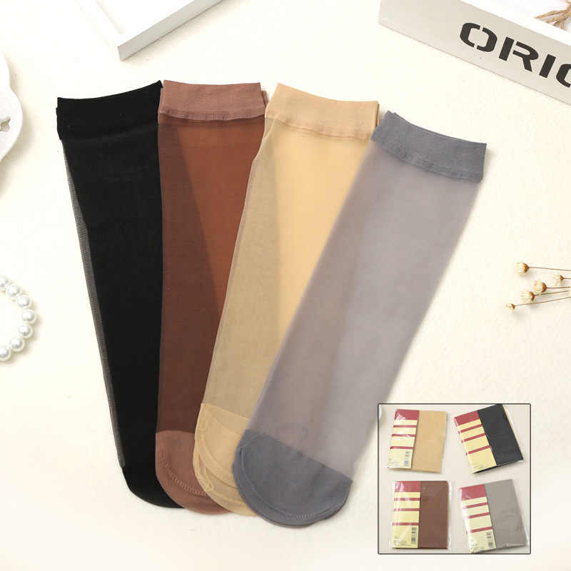 7c60d477a Women Socks Thin Fashion Silk Color Design High Quality Transparent Cozy Girls  Socks Female Meias Harajuku