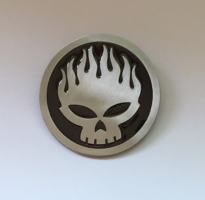 Cráneo hebilla de correa 4 cm ronda plata negro metal