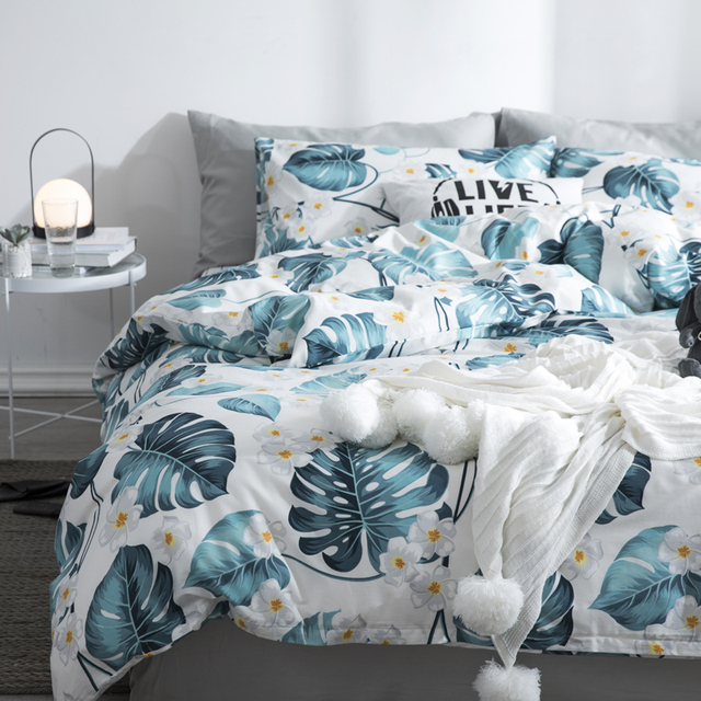 Summer Quilt Big leaves pattern print 100% Cotton Single King Queen King Sizes bedding set for comforter bed linen set new