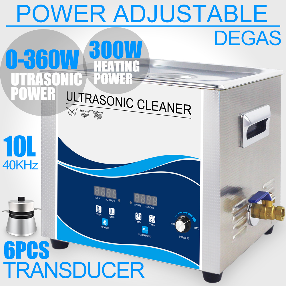 10L Ultrasonic Cleaner Bath 360W Adjustment 40KHZ Ultrasonido Washer Degas Remove Oil Rust Engine Filter Metal Parts Glassware цена