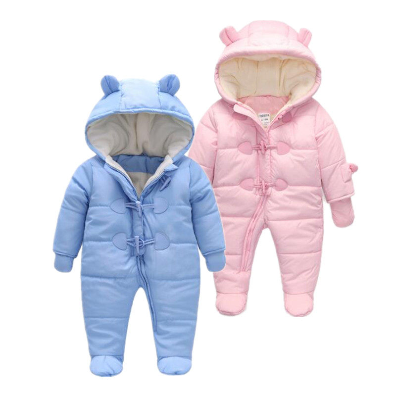 kids Keep Thick warm  baby rompers Winter clothes Newborn Boy Girl Romper Infant Jumpsuit Hooded children Outerwear For 0-24M winter baby rompers organic cotton baby hooded snowsuit jumpsuit long sleeve thick warm baby girls boy romper newborn clothing