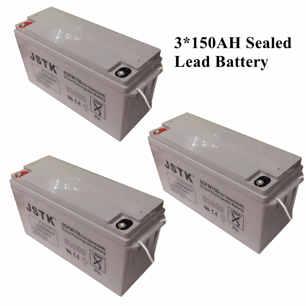 3*12V 150AH Sealed Lead Battery Maintenance Free Solar System Storage Battery 12V 450AH Battery Bank ...