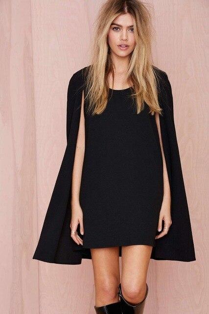 Black long sleeve cape dress
