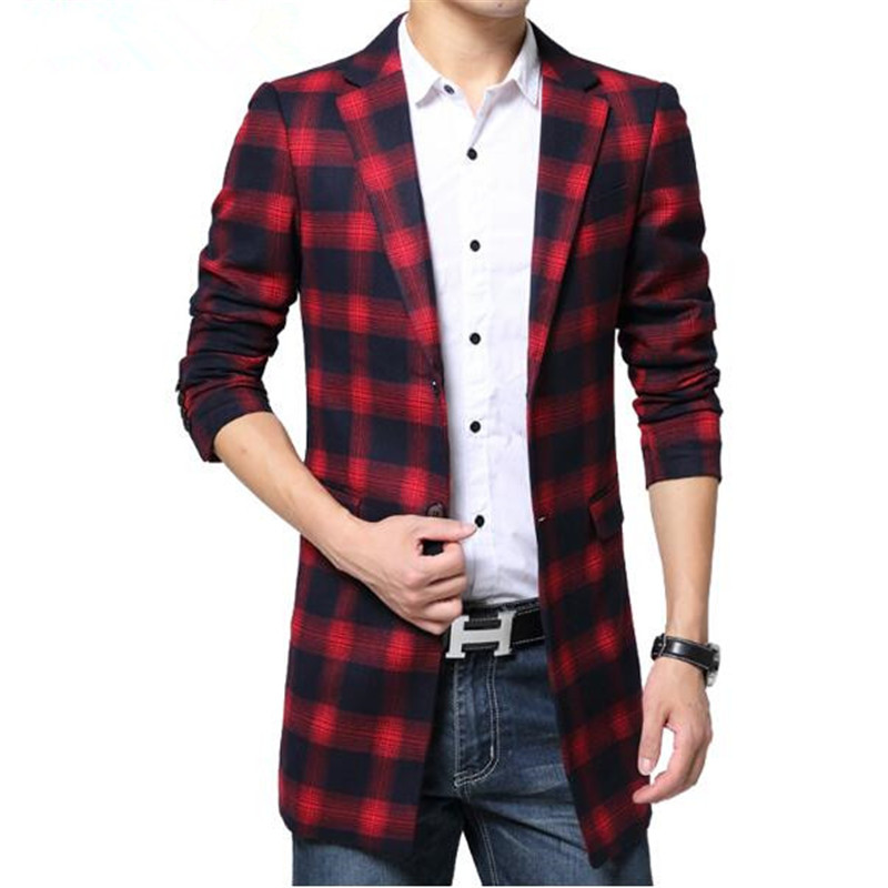 Free Shipping Plaid Trench Coat Men Single-breasted Casual Mens Slim Trench Coat Windbreaker Jacket Male 2017 Autumn Long Style