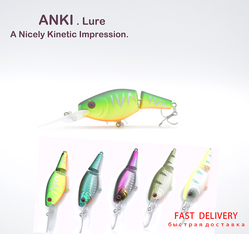 ANKI Long cast 2 joint section swimbait Hard Fishing Lure Wobbler Pesca Artificial Bait Suspending crank AMR70S