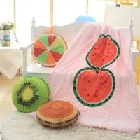 2 in1 Creative Fruit cushion + blanket watermelon kiwi fruit stump sofa pillow home decor