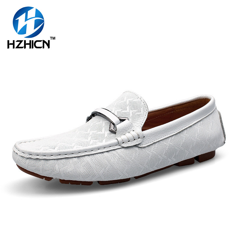 Genuine Leather Man Loafers Designer Slip On Driving Shoes Men High Quality Luxury Brand White Espadrilles Flats Zapatos HZHICN british slip on men loafers genuine leather men shoes luxury brand soft boat driving shoes comfortable men flats moccasins 2a