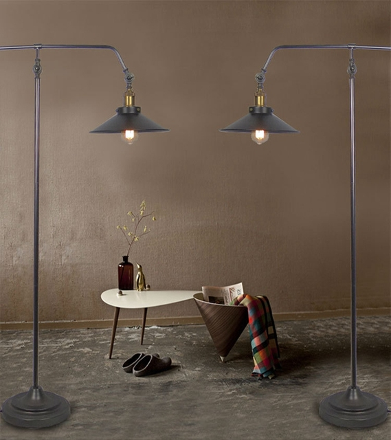 Good Creative Vintage Floor Lamp Lamparas De Pie Industrial Metal Flooring Lantern  Style Floor Lamp Black Living