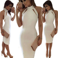 Lazylady solide weiß sexy frauen dress backless partei-cocktail casual halter bodycon midi dress