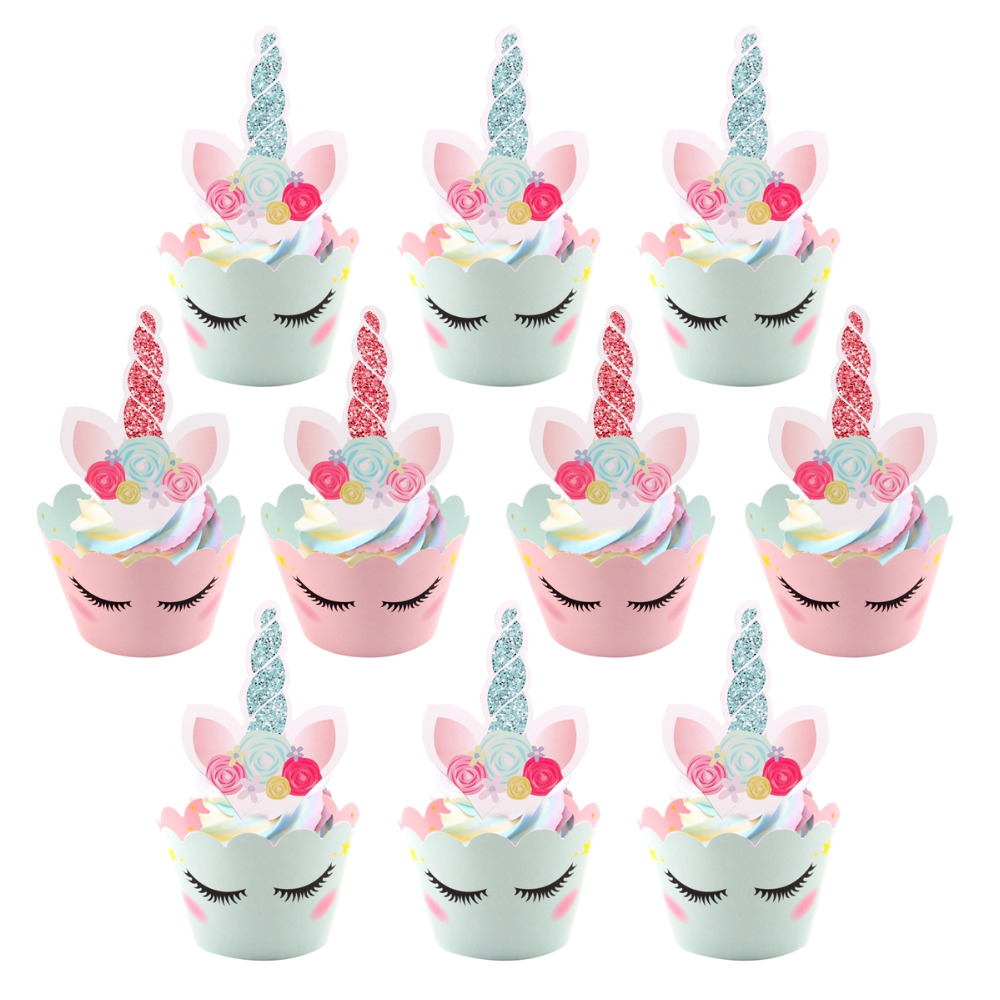 QIFU Cupcake Toppers Cupcake Wrapper Unicorn Birthday Party ...