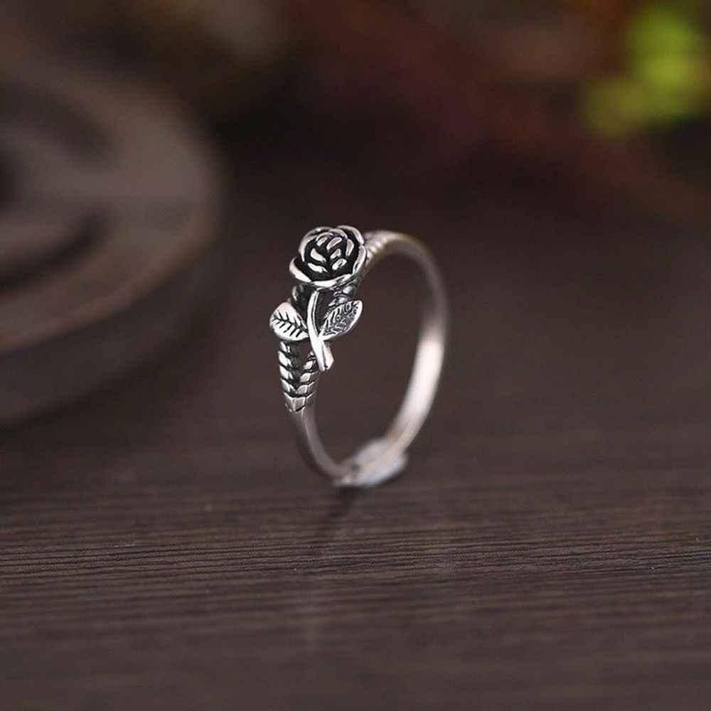Recién llegados anillos de flor Rosa Color plata para mujer amante regalo de compromiso joyería de moda romántica regalo anillo de flor de planta