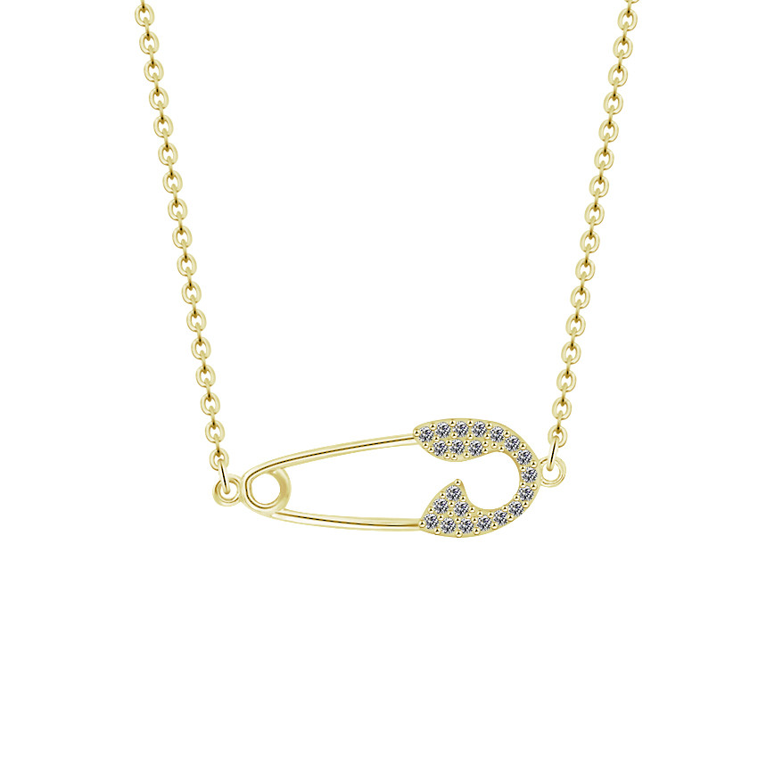 CZ Safety Pin Necklace For Party Gifts 2018 New Fashion Women Gold Pendant Necklace Chokers Stainless Steel Erkek kolye